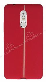Lenovo K6 Note Kadife Dokulu Kırmızı Silikon Kılıf