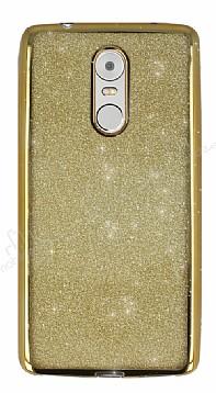 Lenovo K6 Note Simli Parlak Gold Silikon Kılıf