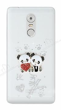 Lenovo K6 Note Taşlı Panda Şeffaf Silikon Kılıf