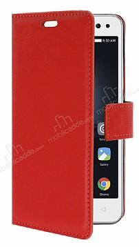 Lenovo Vibe S1 Lite Cüzdanlı Yan Kapaklı Kırmızı Deri Kılıf