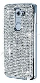 Eiroo Glows LG G2 Taşlı Silver Rubber Kılıf