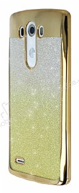 LG G3 Simli Parlak Gold Silikon Kılıf