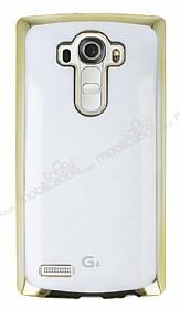 Eiroo Breza LG G4 Gold Metal Kenarlı Şeffaf Rubber Kılıf