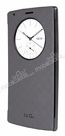 LG G4 Orjinal Uyku Modlu Pencereli Silver Deri Kılıf