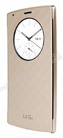 LG G4 Orjinal Uyku Modlu Pencereli Gold Deri Kılıf