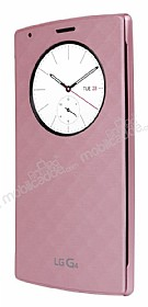 LG G4 Orjinal Uyku Modlu Pencereli Pembe Deri Kılıf
