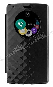 LG G4 Pop Case Snap Orjinal Uyku Modlu Pencereli Siyah Kılıf