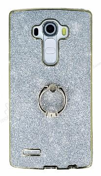 LG G4 Selfie Yüzüklü Simli Silver Silikon Kılıf