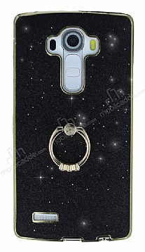 LG G4 Selfie Yüzüklü Simli Siyah Silikon Kılıf