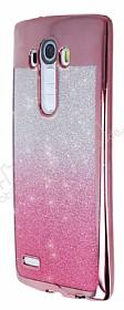 LG G4 Simli Parlak Pembe Silikon Kılıf
