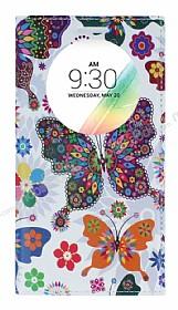 LG G4 Stylus Gizli Mıknatıslı Pencereli Kelebek Deri Kılıf