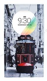 LG G4 Stylus Gizli Mıknatıslı Pencereli Taksim Deri Kılıf