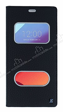LG G6 Gizli Mıknatıslı Çerçeveli Siyah Deri Kılıf