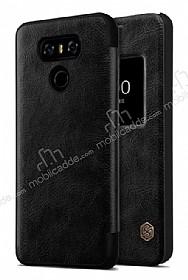 Nillkin LG G6 Uyku Modlu Pencereli Kapaklı Siyah Deri Kılıf