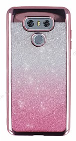 LG G6 Simli Parlak Pembe Silikon Kılıf