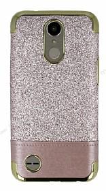 LG K10 2017 Simli Deri Rose Gold Silikon Kılıf