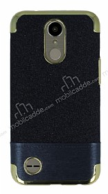 LG K10 2017 Simli Deri Siyah Silikon Kılıf