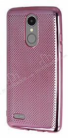 LG K8 2017 Noktalı Metalik Pembe Silikon Kılıf