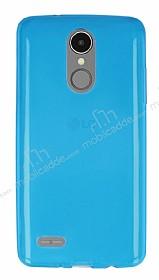 LG K8 2017 Ultra İnce Şeffaf Mavi Silikon Kılıf