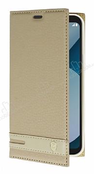 LG Q6 Gizli Mıknatıslı Yan Kapaklı Gold Deri Kılıf