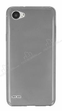LG Q6 Ultra İnce Şeffaf Siyah Silikon Kılıf