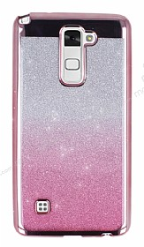LG Stylus 2 / Stylus 2 Plus Simli Parlak Pembe Silikon Kılıf