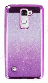 LG Stylus 2 / Stylus 2 Plus Simli Parlak Mor Silikon Kılıf