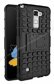 LG Stylus 2 / Stylus 2 Plus Ultra Süper Koruma Standlı Siyah Kılıf