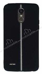 LG Stylus 3 Kadife Dokulu Siyah Silikon Kılıf