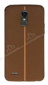LG Stylus 3 Kadife Dokulu Kahverengi Silikon Kılıf