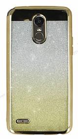 LG Stylus 3 Simli Parlak Gold Silikon Kılıf