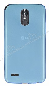 LG Stylus 3 Ultra İnce Şeffaf Mavi Silikon Kılıf