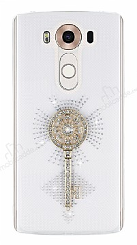 LG V10 Taşlı Anahtar Şeffaf Silikon Kılıf