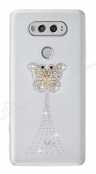 LG V20 Taşlı Kelebek Şeffaf Silikon Kılıf