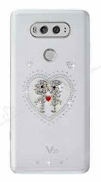 LG V20 Taşlı Love Şeffaf Silikon Kılıf
