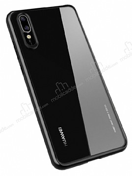 Likgus Huawei P20 Lite Siyah Silikon Kenarlı Şeffaf Rubber Kılıf