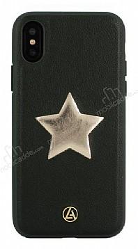 Luna Aristo Astro Serisi iPhone X / XS Gerçek Deri Siyah Kılıf