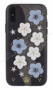 Luna Aristo Jasmine Serisi iPhone X Gerçek Deri Siyah Kılıf