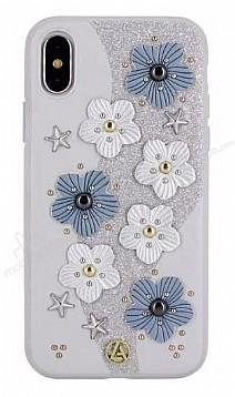Luna Aristo Jasmine Serisi iPhone X Gerçek Deri Silver Kılıf