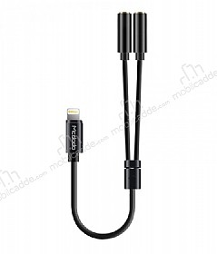 Mcdodo Lightning 3.5 Jack Kulaklık Çift Girişli Çoğaltıcı Siyah Adaptör 24cm