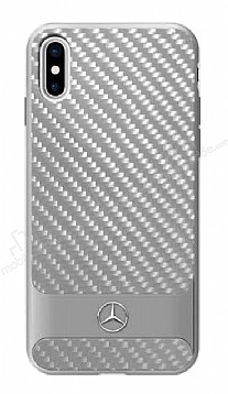 Mercedes-Benz iPhone X / XS Karbon Silver Rubber Kılıf