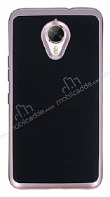 Motomo General Mobile GM 5 Plus Rose Gold Kenarlı Siyah Silikon Kılıf