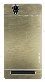 Motomo Sony Xperia T2 Ultra Metal Gold Rubber K�l�f