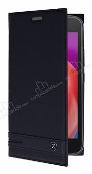 Motorola Moto E4 Plus Gizli Mıknatıslı Standlı Siyah Deri Kılıf