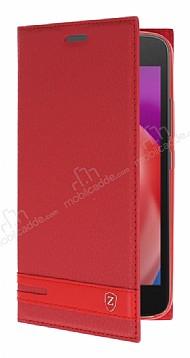 Motorola Moto E4 Plus Gizli Mıknatıslı Standlı Kırmızı Deri Kılıf