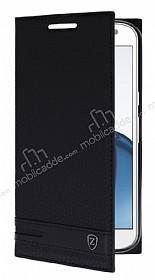 Motorola Moto G4 Plus Gizli Mıknatıslı Yan Kapaklı Siyah Deri Kılıf
