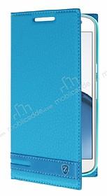 Motorola Moto G4 Plus Gizli Mıknatıslı Yan Kapaklı Mavi Deri Kılıf