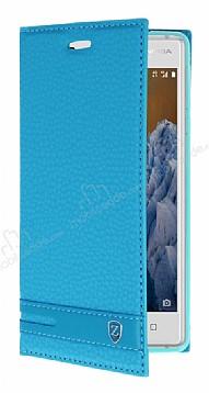 Nokia 3 Gizli Mıknatıslı Yan Kapaklı Mavi Deri Kılıf