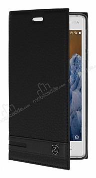 Nokia 3 Gizli Mıknatıslı Yan Kapaklı Siyah Deri Kılıf