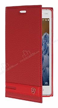 Nokia 3 Gizli Mıknatıslı Yan Kapaklı Kırmızı Deri Kılıf